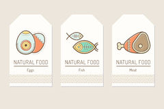 Set of card templates with outlined protein food signs. Eggs, fish, meat. Colorful minimalist tag layout. Linear design for business Royalty Free Stock Photos