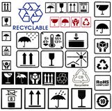 Set cardboard box symbols Stock Image