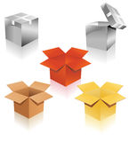 Set of cardboard boxes of different colors Royalty Free Stock Photos