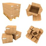 Set of Cardboard Boxes Isolated on White Stock Images