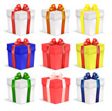Set of cardboard gift boxes with ribbon Stock Image