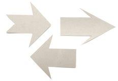 Set cardboard navigation arrows Stock Photography