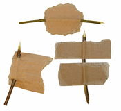 Set Cardboard scrap and branch, sale tag isolated Stock Photo