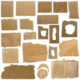 Set Cardboard Scraps and Hole ripped cardboard Royalty Free Stock Photography