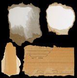 Set cardboard scraps isolated Stock Photography