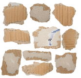 Set cardboard scraps isolated Stock Photos