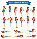 Set of cardio exercise for slim arms workout or weight training Stock Photography