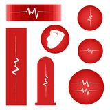 Set of Cardiogram on Red Banner Stock Photo