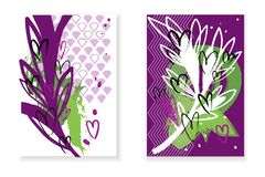Set of cards with abstract background, white and rose branches and hearts. Vector Stock Illustration