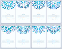 Set Of Cards With Abstract Gzhel Patterns Royalty Free Stock Photo
