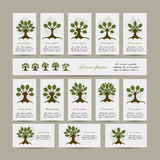 Set of cards with art trees for your design Stock Photo