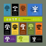 Set of cards with art trees for your design Royalty Free Stock Photos