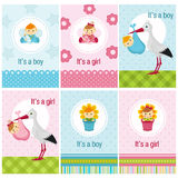 Set of cards with baby girl and boy. Vector illustration, eps vector illustration