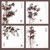 Set of cards with bamboo trees Royalty Free Stock Images