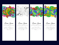 Set of cards or banners with colorful floral zentangle ornament. Stock Image