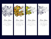 Set of cards or banners with colorful floral zentangle ornament with ribbon. Stock Photo