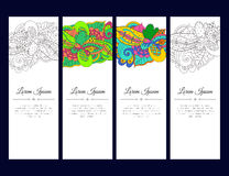 Set of cards or banners with colorful zentangle waves ornament. Royalty Free Stock Photos