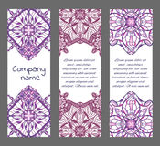 Set of cards or banners with oriental symmetric ornaments Stock Images