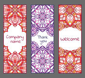 Set of cards or banners with oriental symmetric ornaments. Vector ethnic design Stock Photos