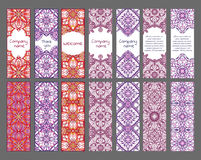 Set of cards or banners with oriental symmetric ornaments. Vector ethnic design Stock Photo