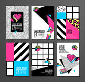 Set of cards and banners in 80s-90s memphis style. Memphis cards with geometric elements. Set of vector banners in trendy 80s-90s memphis style. Can be used in Stock Images