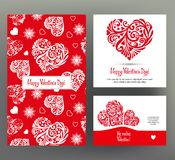 Set of 3 cards or banners for Valentine`s Day with ornate red lo Royalty Free Stock Photo