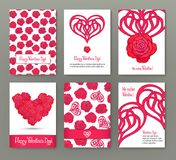 Set of 6 cards or banners for Valentine`s Day with ornate red lo Stock Photography