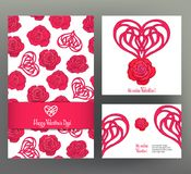 Set of 6 cards or banners for Valentine`s Day with ornate red lo Royalty Free Stock Image