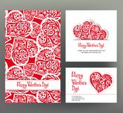 Set of 3 cards or banners for Valentine`s Day with ornate red lo Royalty Free Stock Photography