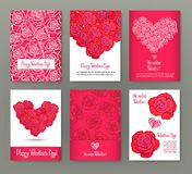 Set of 6 cards or banners for Valentine`s Day with ornate red lo Royalty Free Stock Photo