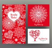Set of 3 cards or banners for Valentine`s Day with ornate red lo Stock Photography