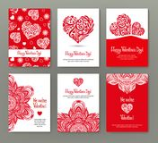Set of 6 cards or banners for Valentine`s Day with ornate red lo Royalty Free Stock Photography
