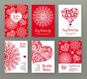 Set of 6 cards or banners for Valentine`s Day with ornate red lo Royalty Free Stock Photos
