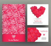 Set of 6 cards or banners for Valentine`s Day with ornate red lo Royalty Free Stock Images