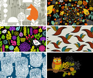 Set of cards with birds, animals and flowers. Royalty Free Stock Image