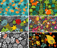 Set of cards with birds, animals and flowers. Royalty Free Stock Photo
