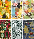 Set of cards with birds and flowers. Royalty Free Stock Image