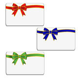 Set of cards with bow Royalty Free Stock Image