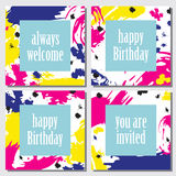 Set of  cards with bright abstract design. Royalty Free Stock Images