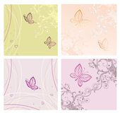 Set of Cards with butterfly Royalty Free Stock Images