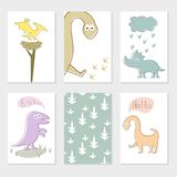 Set of cards with cartoon dinosaurs. stock illustration