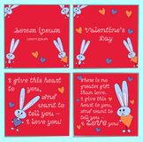 A set of cards with cartoon rabbits for Valentines Day. With holiday greetings. Square bright pink background with stock illustration