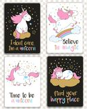 Set of cards with cartoon styled unicorns and inspirational lettering. vector illustration