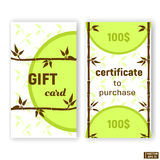 Set cards,certificates with bamboo. Stock Photo