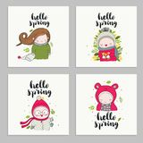 Set of cards with children lettering - hello spring vector illustration