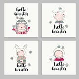 Set of cards with children lettering - hello spring. Set of invitations cards, posters, with cartoon characters, children in cute beanies and hand drawn vector illustration