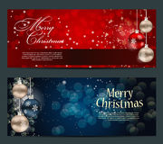 Set of cards with Christmas BALLS, stars and Stock Photo