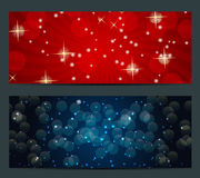 Set of cards with Christmas BALLS, stars and Stock Photography