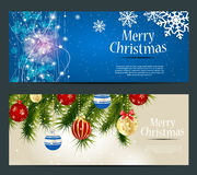 Set of cards with Christmas BALLS, stars and Royalty Free Stock Photography