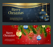 Set of cards with Christmas BALLS, stars and Stock Images